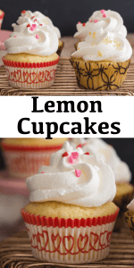 An easy Lemon Cupcake recipe. The perfect soft cupcakes with a lemony taste. Add a creamy whipped cream Lemon Frosting. Lemon lovers will love these! #lemoncupcakes #cupcakes #lemondessert #dessert