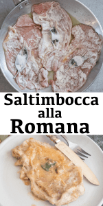 Saltimbocca alla Romana is a delicious Italian Veal Recipe. Slices of tender meat topped with a slice of prosciutto and a sage leaf cooked in a simple wine sauce. Nothing better! #saltimboccaallaromana #saltimbocca #Italianrecipe #meat #veal #dinner #fastdinnerrecipe