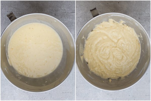 mixing the wet ingredients in a silver mixing bowl, all the ingredients combined and smooth in the silver bowl