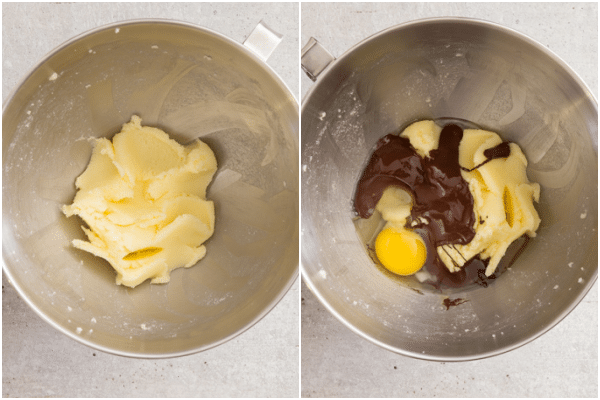 creaming the butter then adding the egg and chocolate