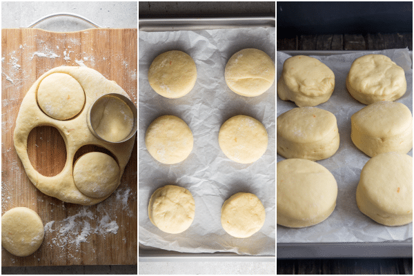 cutting out the dough, the donuts on a parchment paper lined cookie sheet before and after rising