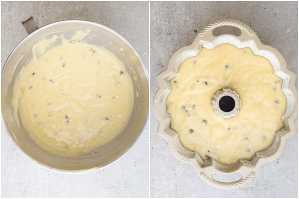 batter for yogurt cake mixed in mixing bowl and poured into the cake pan ready for baking