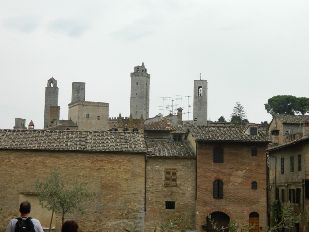 San Gimignano skyline, from Piazza Sant'Agostino, showing medieval towers