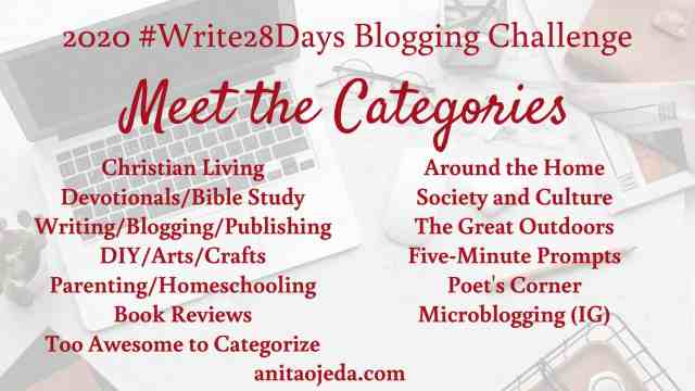 Need a blogging challenge to chase away the mid-winter blues? Join us for the 2020 #write28days blogging challenge. Check out the categories, set your goals, and start writing! #blogger #blogging #writer #writing #challenge #WP #community #amwriting