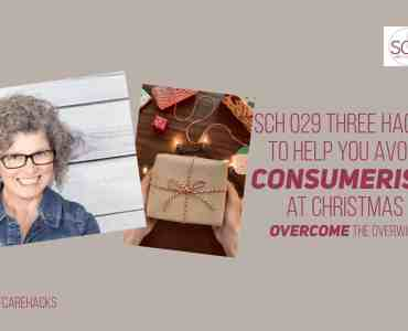 Consumerism at Christmas seems like a rampant reality. But does it have to be? These three hacks will help you take care of yourself by curbing your spending impulses this holiday season.#holiday #consumerism #selfcare #selfcarehacks #podcast #gifts #giftgiving #truemeaningofchristmas