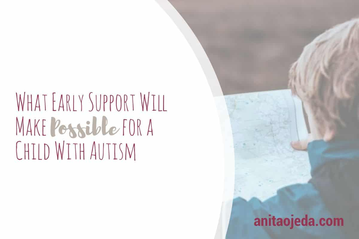 You never know what early support will make possible in someone's life. For my grandson, it helped him learn to speak. #autism #autistic #earlysupport #speechtheraphy #fmfparty #possibility