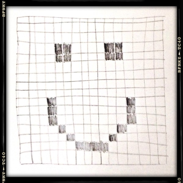 Smile Again: Day 9 Hand-drawn Crossword Grid, Pencil on Plain Paper