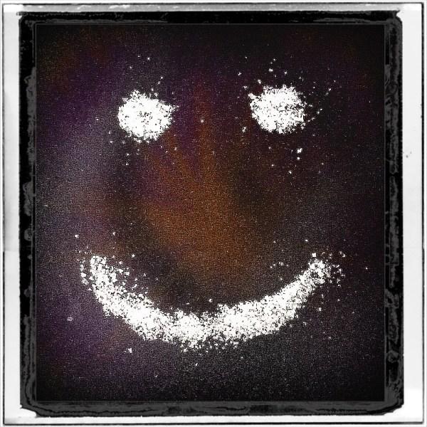 Smile Again: Day 18 Grated Sea Salt on Black Fabric