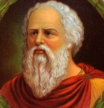 A painting of Socrates representing him in a story about the lake.