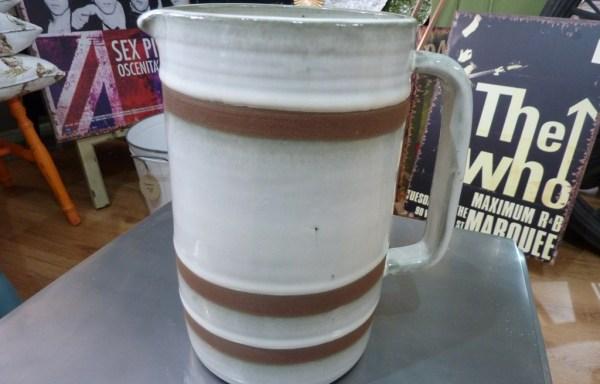 Brown Ceramic Strip Jug