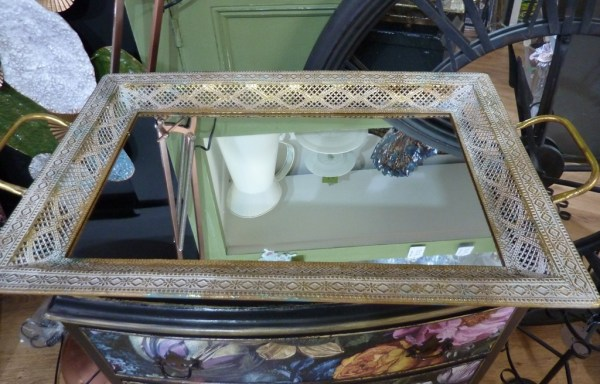 Filigree mirror tray
