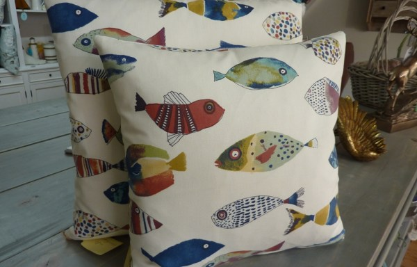 Prestigious fish fabric cushions with feather inners