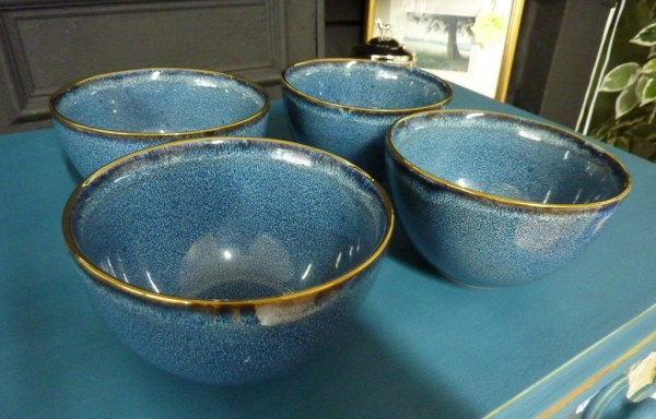 "Set of 4 gold rim blue bowls 5"" diameter"
