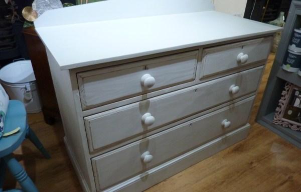 Victorian pine drawers very heavy grey shabby chic