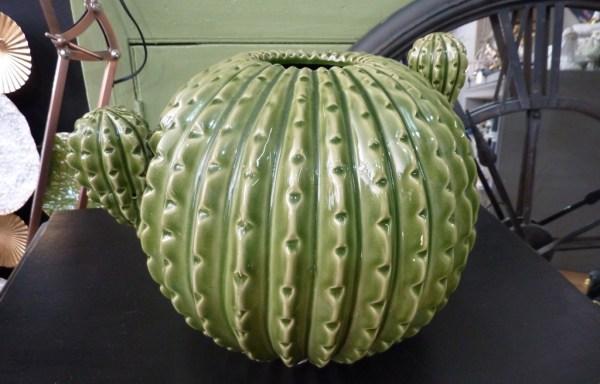 "Large Green Ceramic Cactus 8"" Tall"