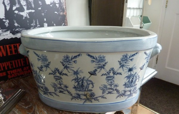 "Blue / white floral ceramic planter 21"" x 10"" reduced £120 to £80"