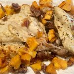 One Pan Roasted Chicken with Sweet Potatoes and Dates