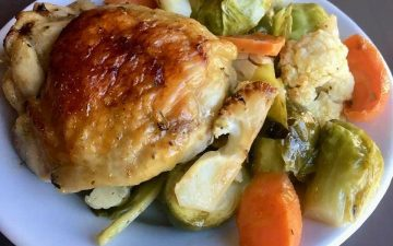 Sheet Pan Chicken with Cauliflower, brussels sprouts and carrots