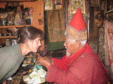 Being blessed by a Monk in Nepal