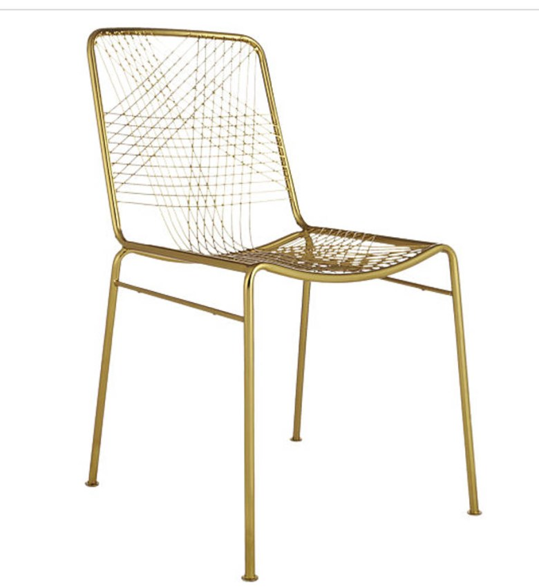 gold wire mesh wire dining chair