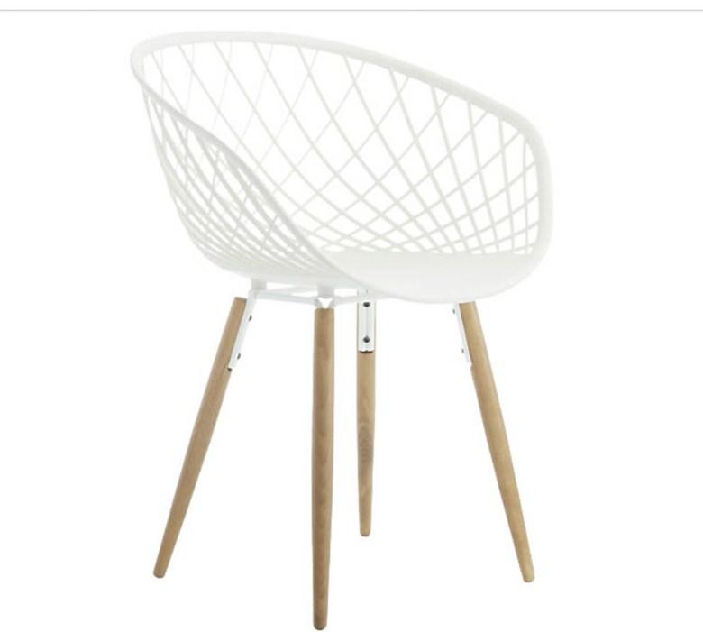 CB2 white dining chair wood legs