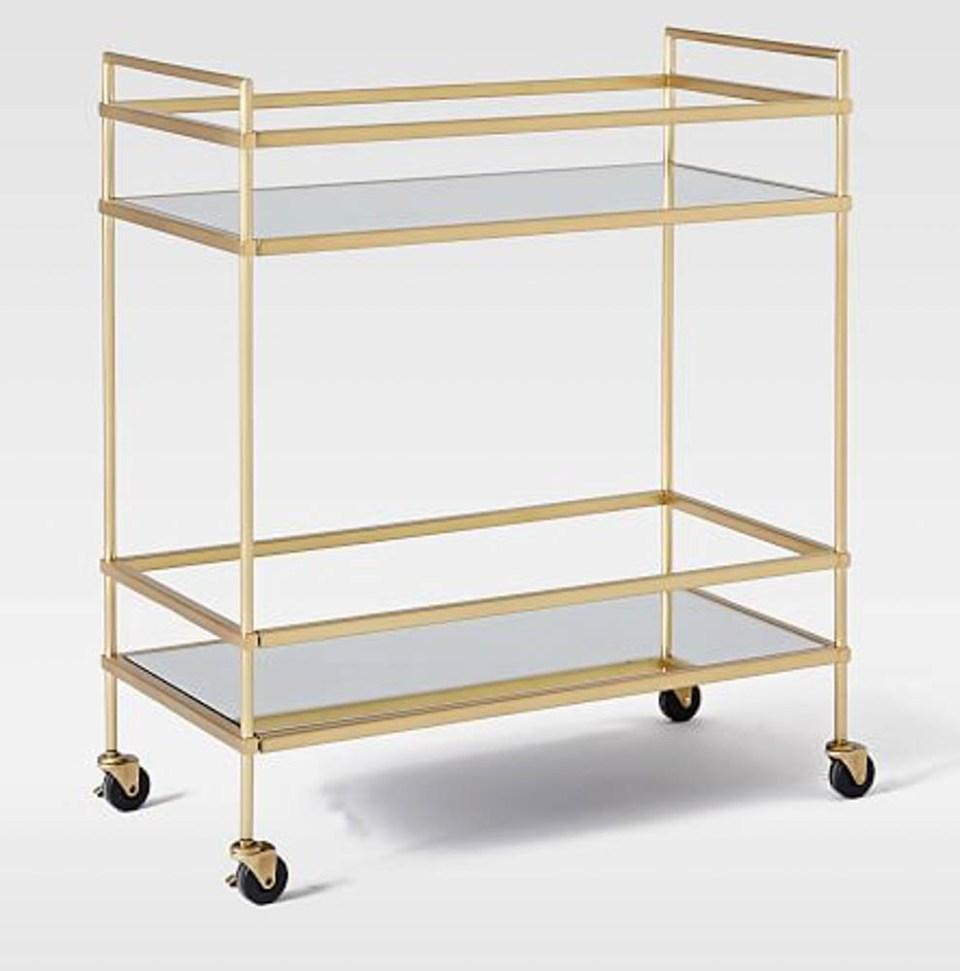west elm gold bar cart