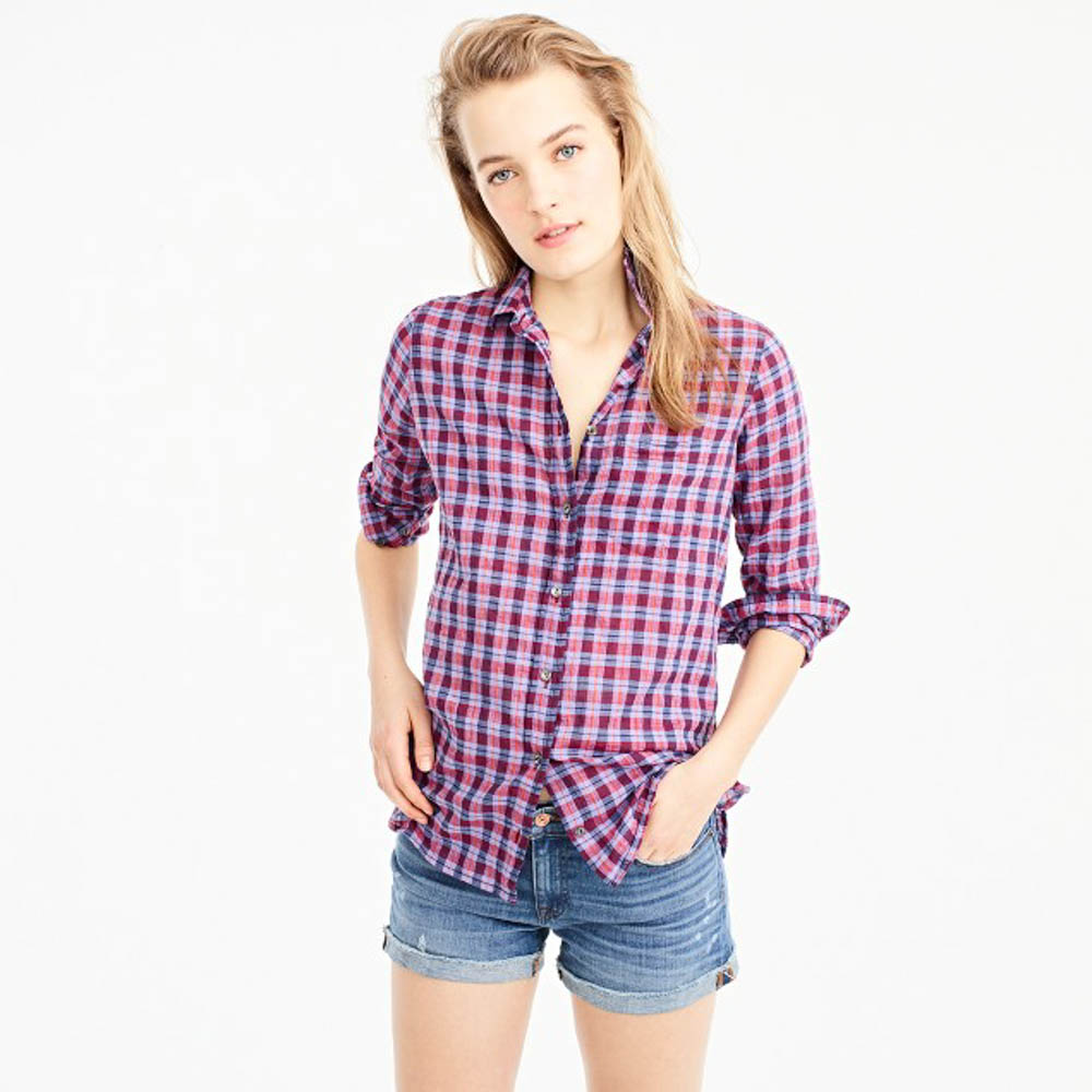 Alaskan Cruise Packing Tips: Pack layers of clothing for you and your family. J Crew Women's purple boy fit plaid shirt
