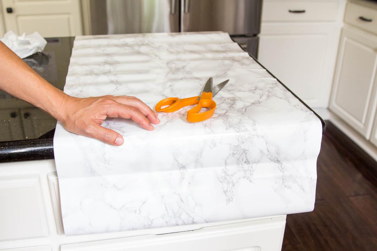 scissors faux marble contact paper