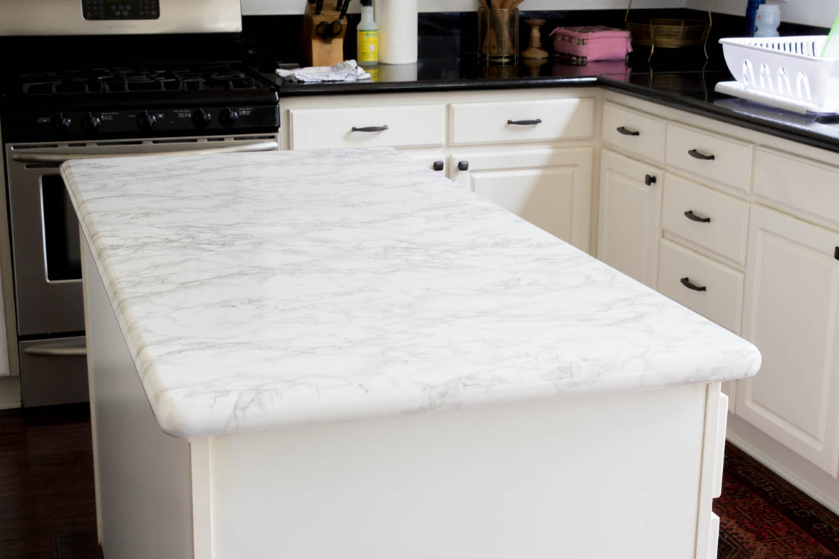 kitchen island faux marble contact paper DIY