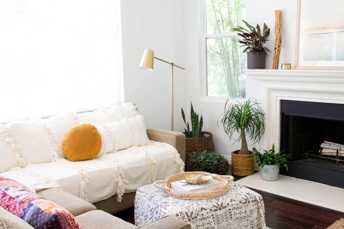 world market round pillow boho living space cactus brass lamp