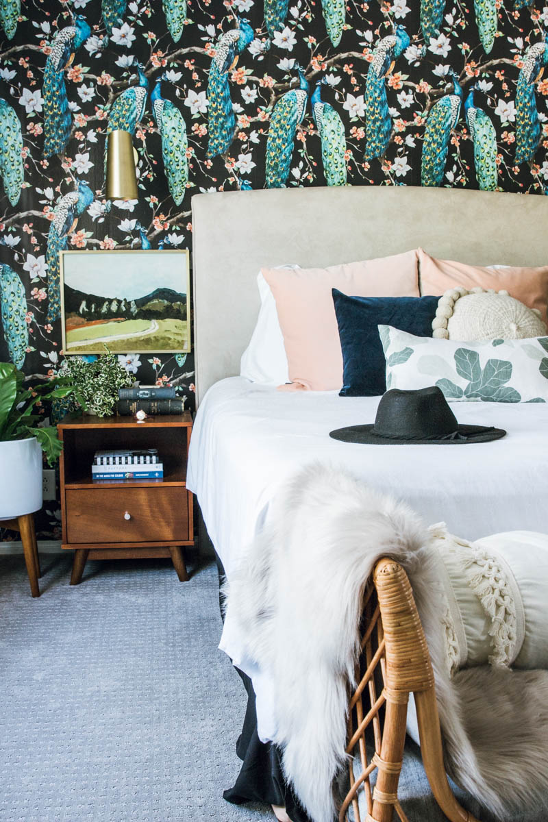 modern eclectic boho bedroom bold removable wallpaper round pillows target night stand rejuvenation brass cypress sconce