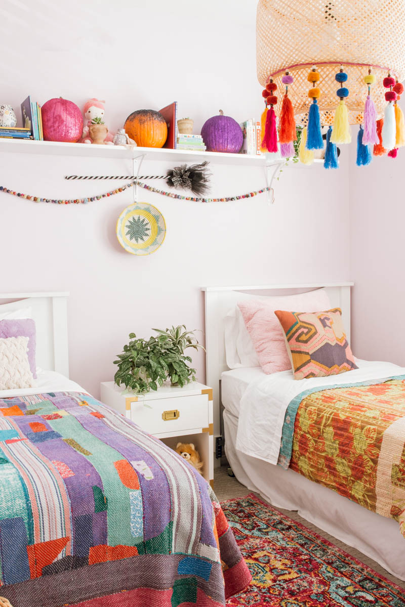 boho girls' bedroom hanging IKEA lamp tassels PB kids campaign nightstand DIY glitter pumpkin kantha quilt