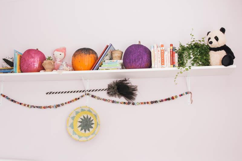 boho girls' bedroom eclectic design DIY glitter pumpkin kantha quilt