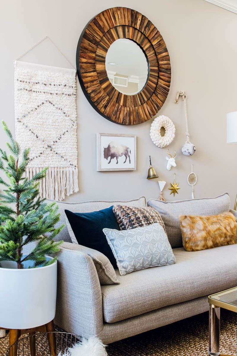 eclectic boho modern home decor west elm sofa mid century gallery wall
