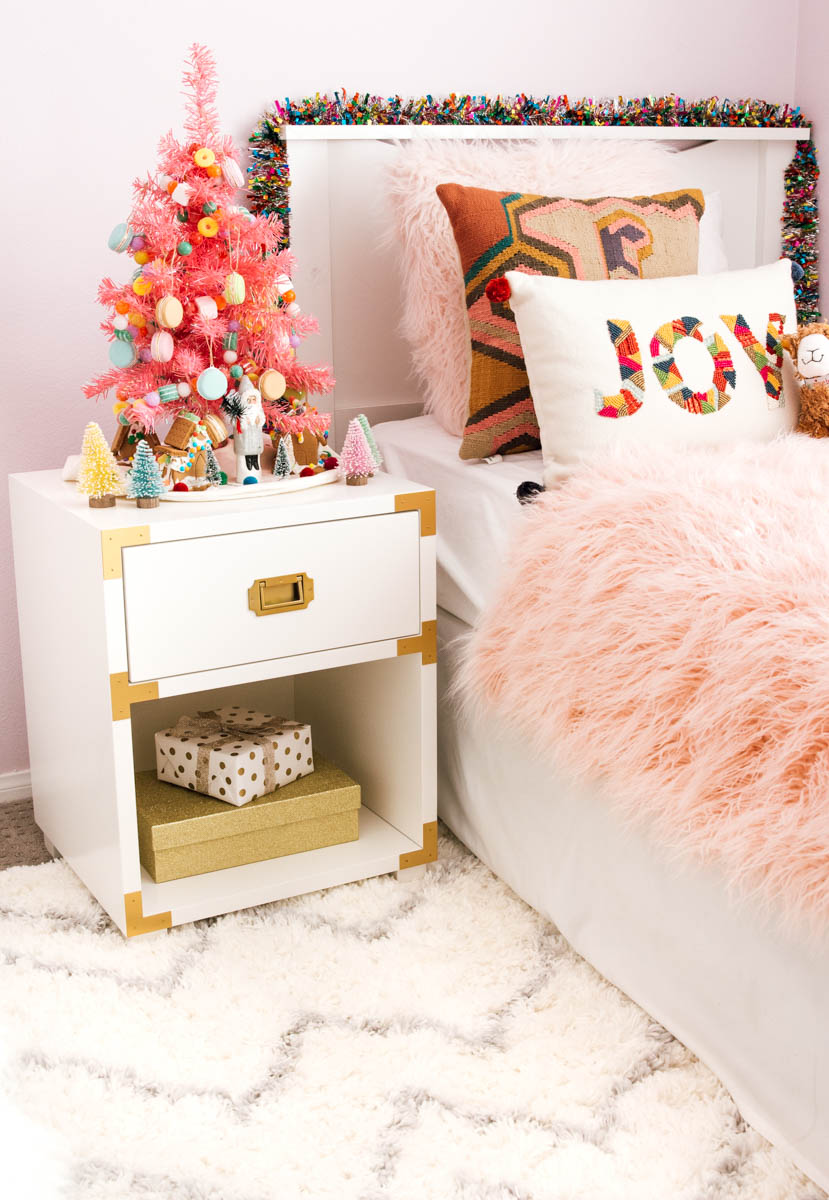 girls boho holiday bedroom anita yokota ikea land of nod lamp pbkids champagne nightstand