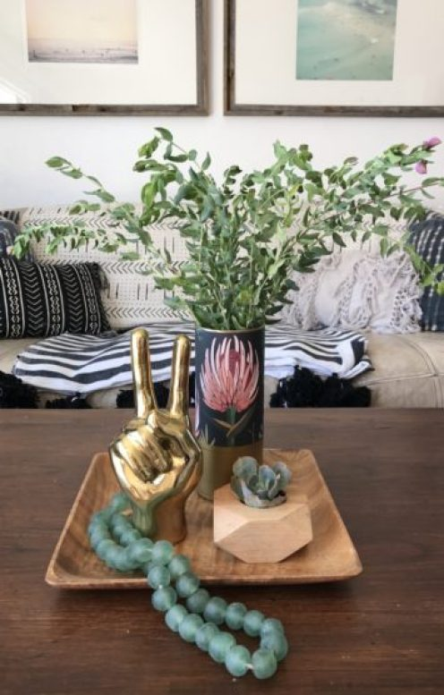 modern boho eclectic table decor peace sign hand brass glass beads