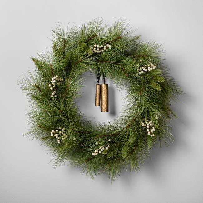 target magnolia faux wreath brass bells