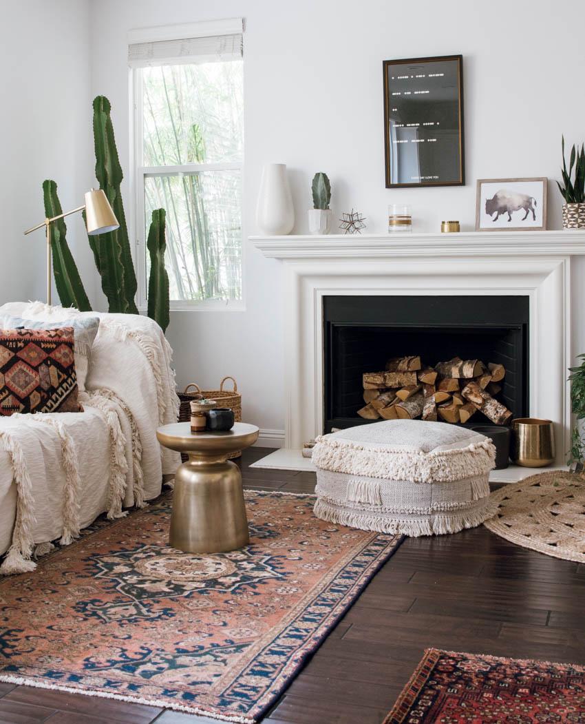 vintage rug anthropologie throw on sofa west elm martini side table kilim pillows
