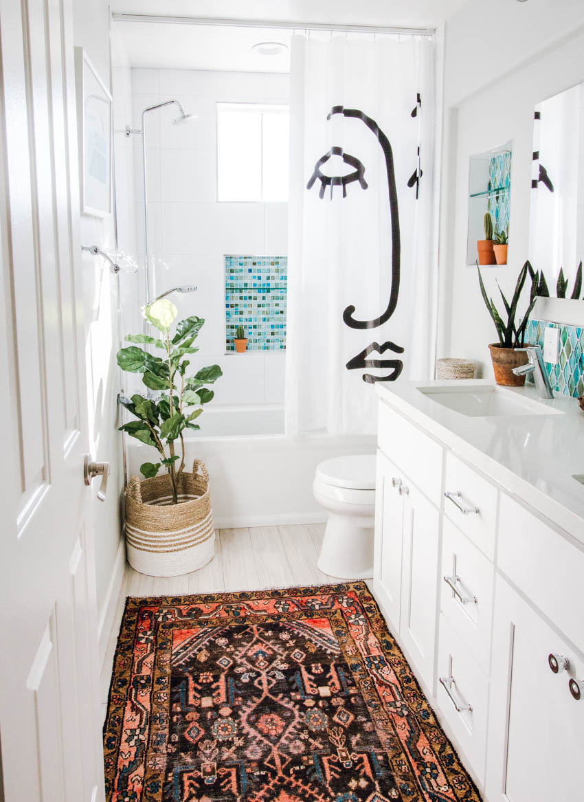 white bathroom vintage rug target shower curtain aqua tiles shower plants