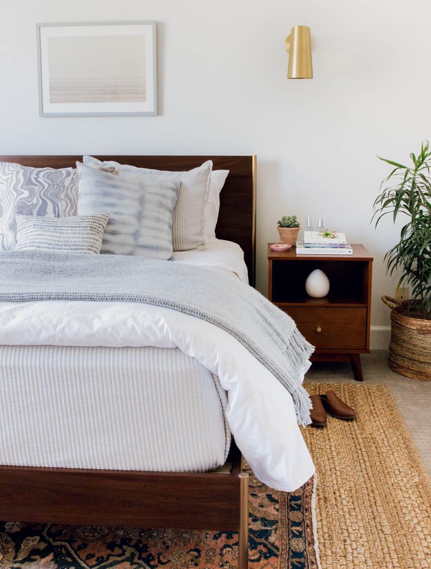 west elm bed boho eclectic design parachute home rebecca atwood rejuvenation mirror