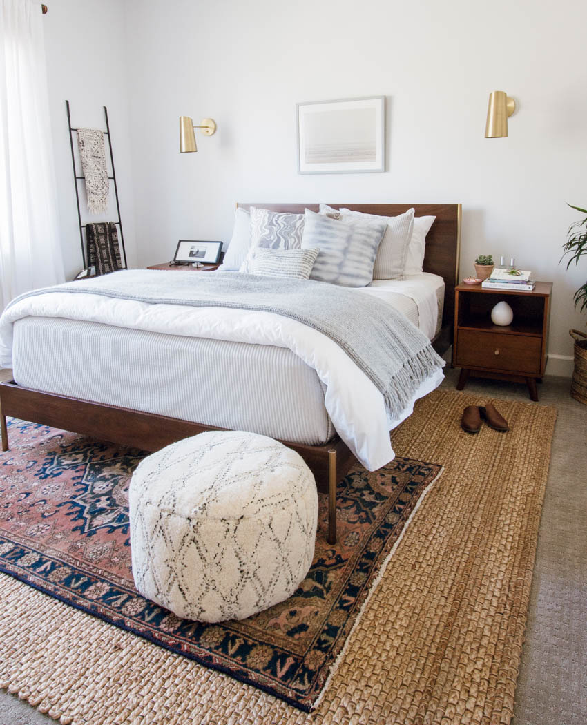 west elm bed boho eclectic design parachute home rebecca atwood rejuvenation mirror
