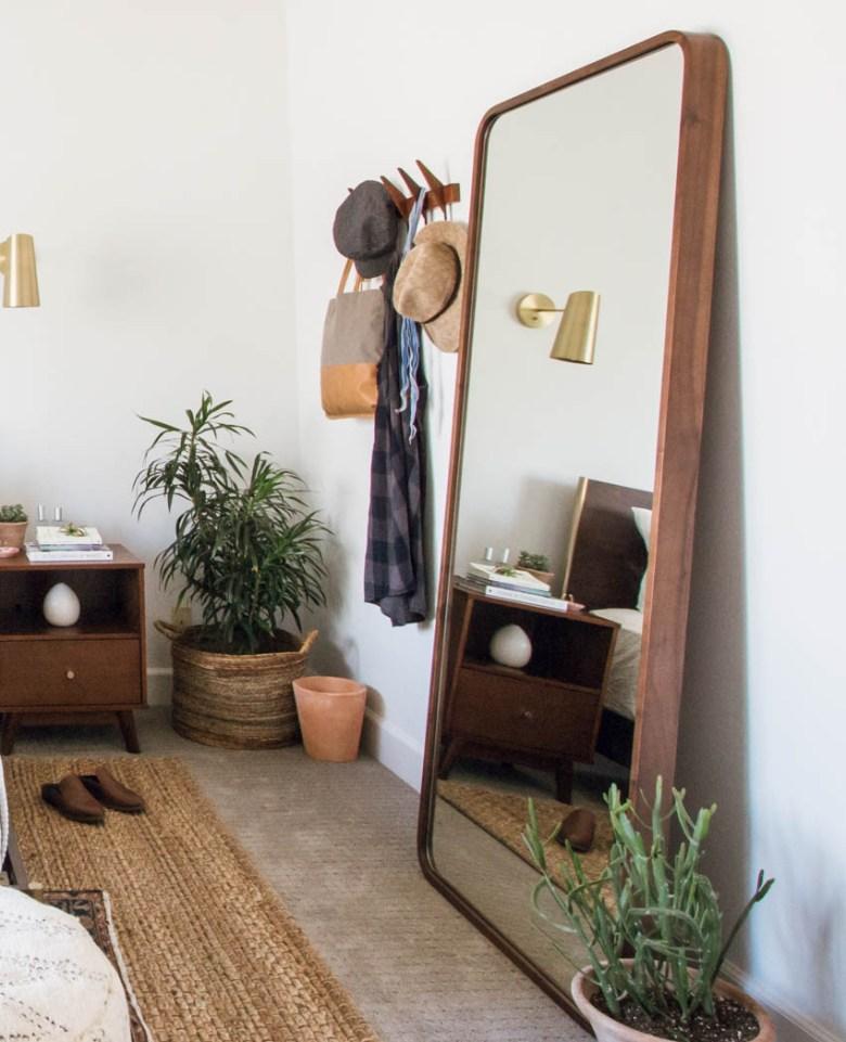 floor to ceiling bedroom mirror boho eclectic design