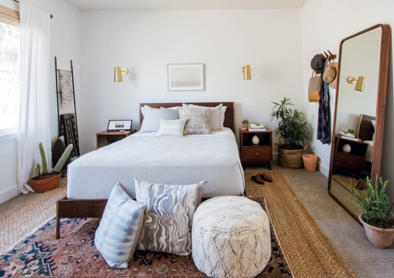 west elm master bedroom makeover boho eclectic design parachute home rebecca atwood rejuvenation mirror