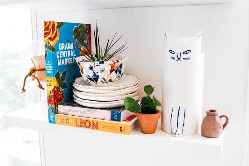 white kitchen shelving anthropologie kitty pitcher the sill plants loloi runner