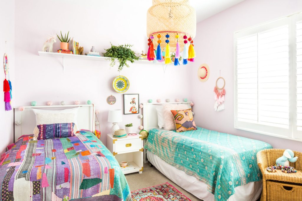 bohemian eclectic children bedroom shared bedroom girls
