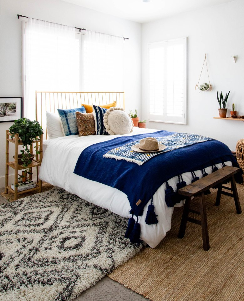 Scandinavian bohemian bedroom west elm bed