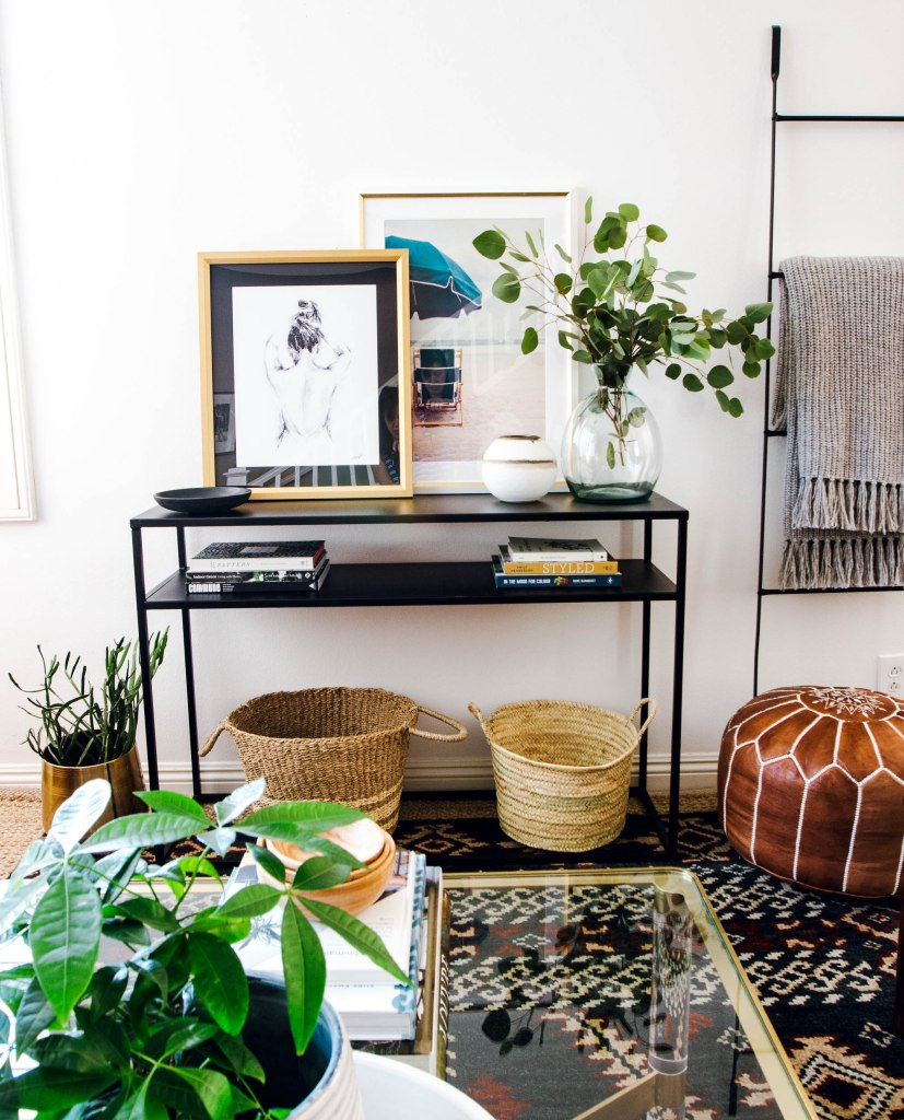 layered art aaron brothers studio mcgee baskets target console california inspired design