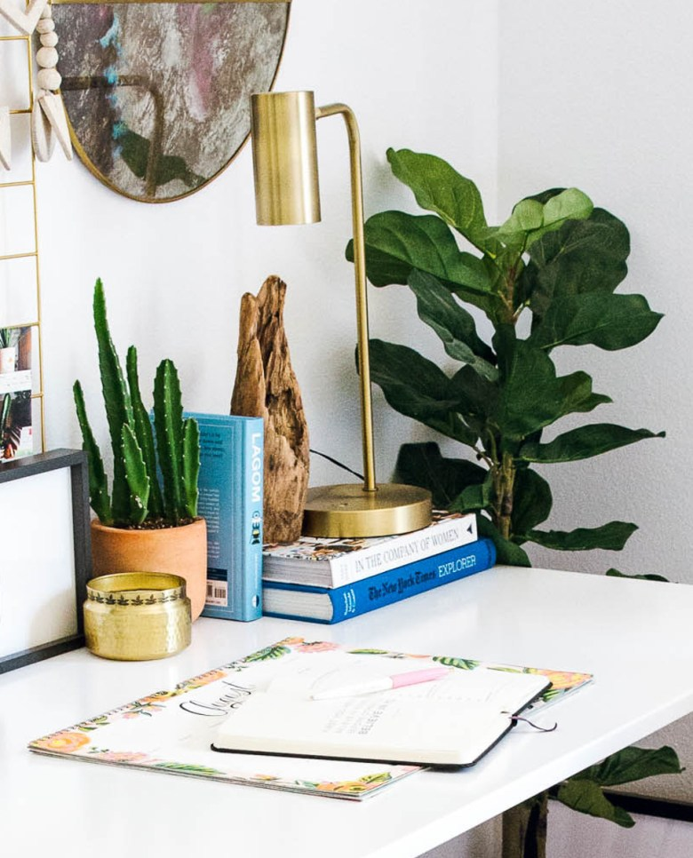 room and board moda desk, target brass lamp