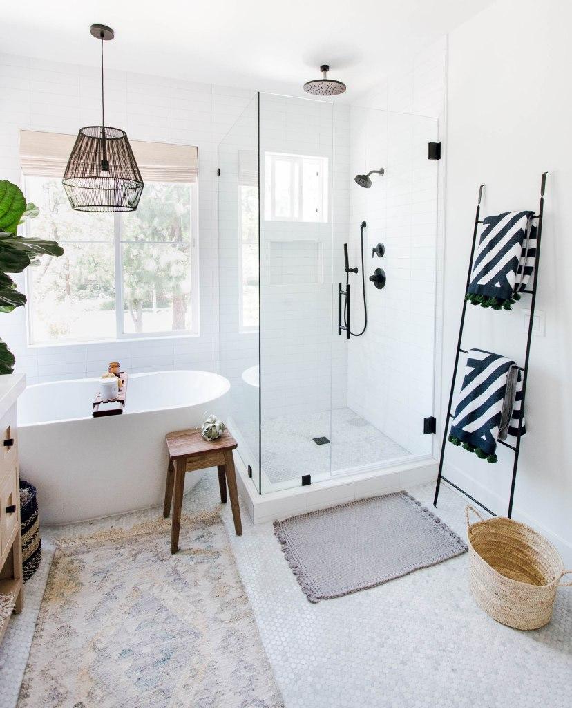 coastal boho bathroom runner black pendant ladder throw blankets glass shower