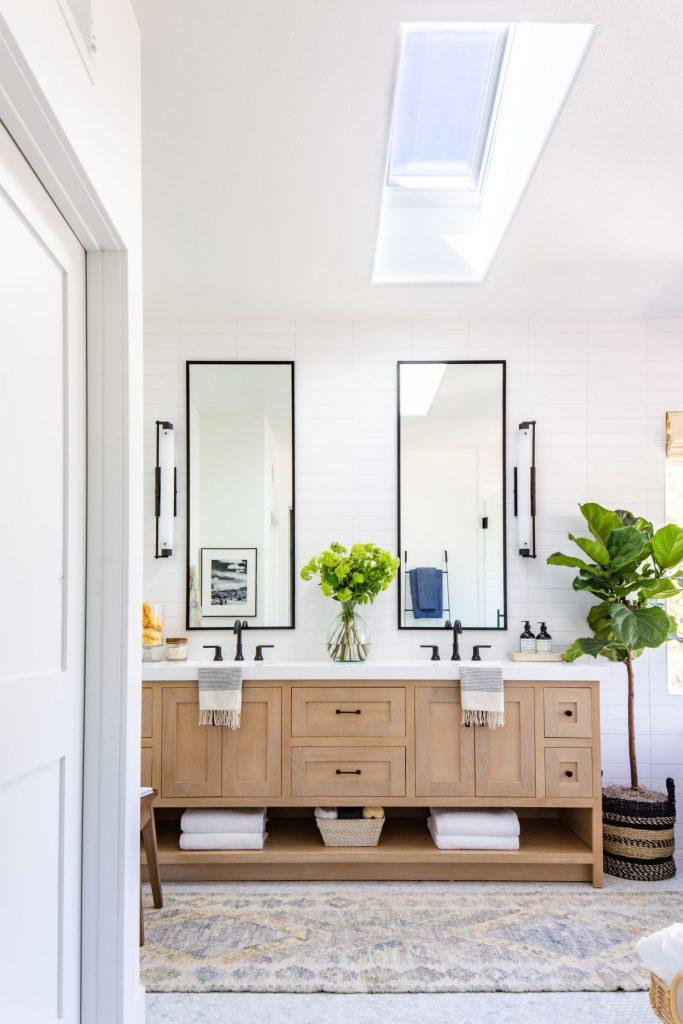 California casual bathroom white oak vanity rejuvenation sconce, cabinet hardware and runner